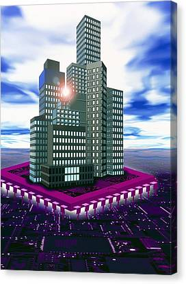 Computer Art Of Future City Floating On Microchip Canvas Print by Victor Habbick Visions