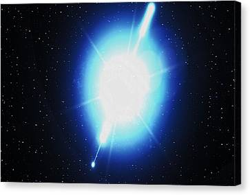 Computer Artwork Of A Gamma Ray Burst Canvas Print by Greg Baconnasa