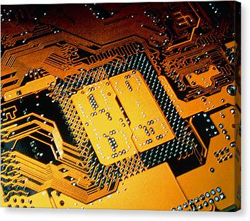 Computer Artwork Of Personal Computer Motherboard Canvas Print by Laguna Design