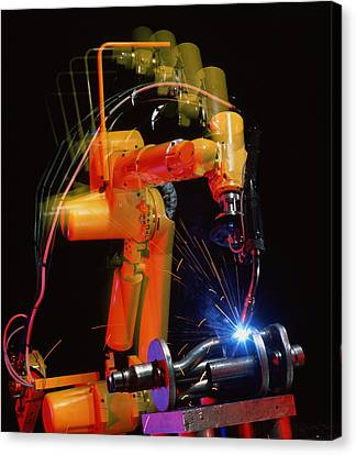 Computer-controlled Electric Arc-welding Robot Canvas Print by David Parker, 600 Group Fanuc