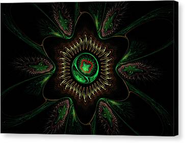 Computer Generated Green Flower Abstract Fractal Flame Modern Art Canvas Print by Keith Webber Jr