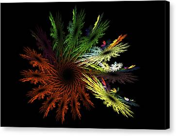 Computer Generated Red Yellow Green Abstract Fractal Flame Black Canvas Print by Keith Webber Jr