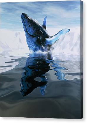 Computer Illustration Of A Humpback Whale Canvas Print by Victor Habbick Visions