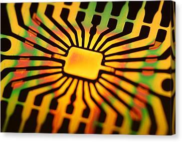 Computer Microchip Circuit Canvas Print by Pasieka