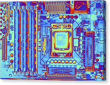Computer Motherboard With Core I7 Cpu Canvas Print by Pasieka