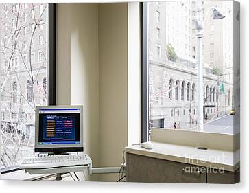 Computer Screen And Keyboard Canvas Print by Andersen Ross