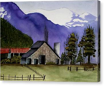 Concrete Barn Watercolor Canvas Print by Mary Gaines