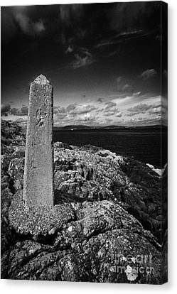 concrete mile marker post originally erected for the RMS titanic speed trials in Belfast Lough Canvas Print