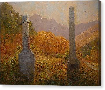 Concrete Tombstones Canvas Print by Terry Perham