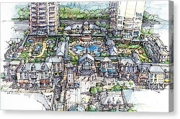 Canvas Print featuring the drawing Condominium by Andrew Drozdowicz