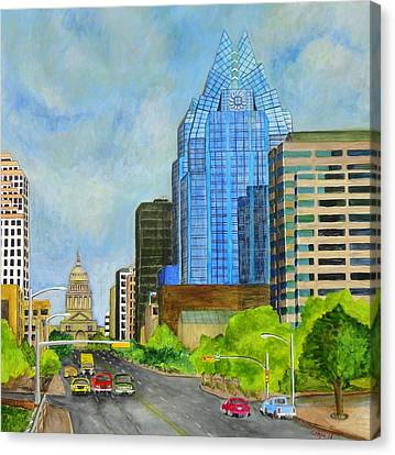 Congress Avenue Austin Texas Canvas Print by Manny Chapa