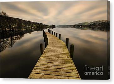Coniston Water Jetty Canvas Print by John D Hare