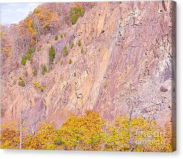 Canvas Print featuring the photograph Connecticut Autumn Granite by Cindy Lee Longhini