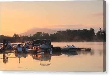 Connecticut River Oxbow Morning Fog Mount Holyoke Canvas Print by John Burk