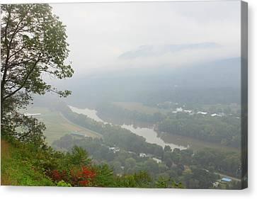 Connecticut River Valley Fog Mount Sugarloaf Canvas Print by John Burk
