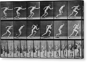 Consecutive Images Of A Man Running Canvas Print by Everett