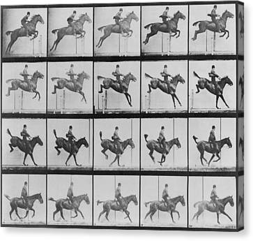 Consecutive Images Of Man Riding Canvas Print by Everett