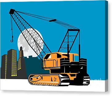 Construction Crane Hoist Retro Canvas Print by Aloysius Patrimonio