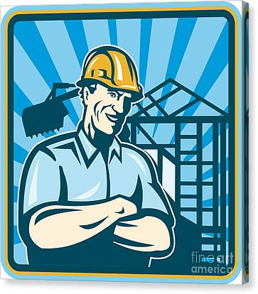 Construction Engineer Foreman Worker Canvas Print by Aloysius Patrimonio