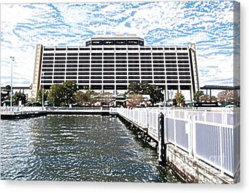 Contemporary Resort Profile Walt Disney World Prints Colored Pencil Canvas Print by Shawn O'Brien