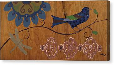 Canvas Print featuring the mixed media Contemporary Whimsical Bird On A Wire In Pastel-like Colors With Flowers And Dragonfly by M Zimmerman