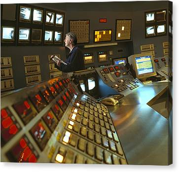 Control Room In A Float Glass Factory Canvas Print