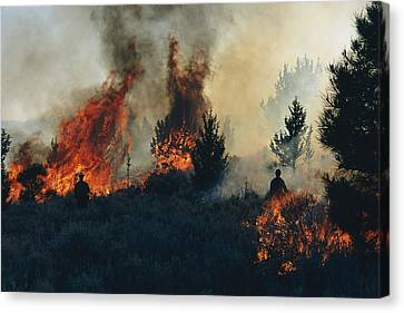 Controlled Fires Burn Eagerly In Small Canvas Print by Melissa Farlow