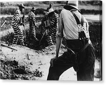 Convict Chain Gang And Prison Guard Canvas Print by Everett