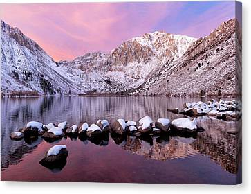 Convict Lake Sunrise With Fresh Snow Canvas Print by Justin Reznick Photography