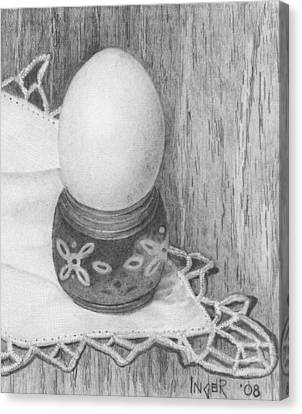 Cooked Egg With Napkin Canvas Print by Inger Hutton