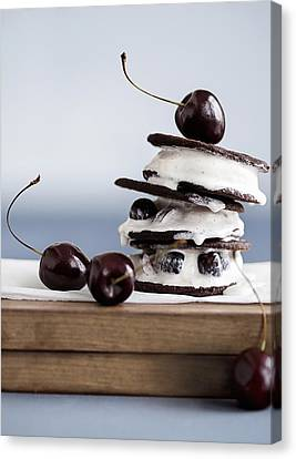 Cookies With Ice Cream And Cherries Canvas Print by Cultura/Line Klein