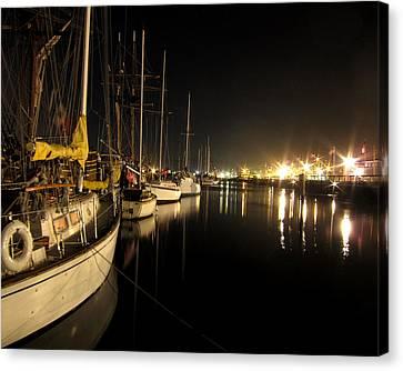 Coos Bay Sailboats At Night Canvas Print by Gary Rifkin