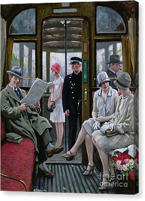 Cloche Hat Canvas Print - Copenhagen Tram by Paul Fischer