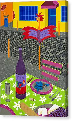 Red Cat Wine Canvas Print - Coq Au Vin by Kort Duce