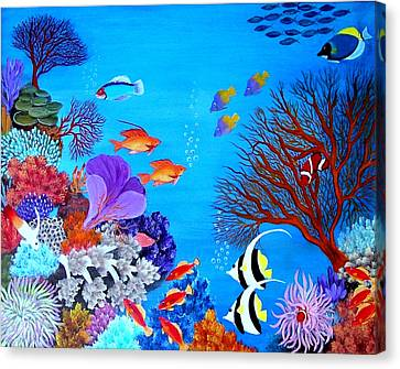 Canvas Print featuring the painting Coral Garden by Fram Cama