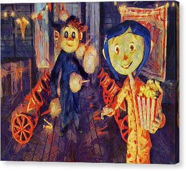 Canvas Print featuring the painting Coraline Circus by Joe Misrasi