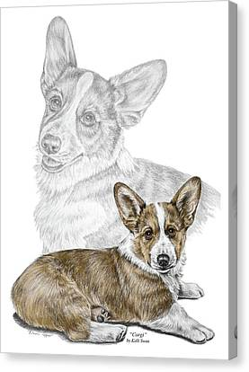 Canvas Print featuring the drawing Corgi Dog Art Print Color Tinted by Kelli Swan