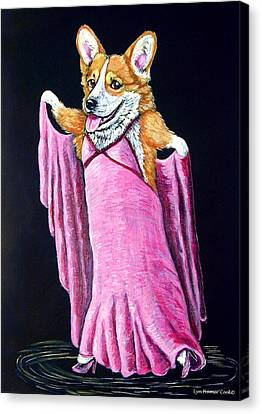 Corgi Ginger Rogers Canvas Print by Lyn Cook