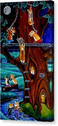 Corgi Secret Hideout Canvas Print by Lyn Cook
