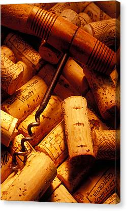 Corkscrew And Wine Corks Canvas Print by Garry Gay