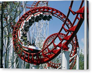 Corkscrew Coil On A Rollercoaster Ride Canvas Print by Kaj R. Svensson