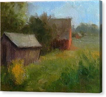 Corn Crib And Barn Solebury Canvas Print by Kit Dalton