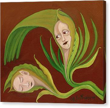 Corn Love Fantastic Realism Faces In Green Corn Leaves Sleeping Or Dead Loving Or Mourning Gree Canvas Print by Rachel Hershkovitz