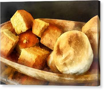 Cornbread And Rolls Canvas Print by Susan Savad
