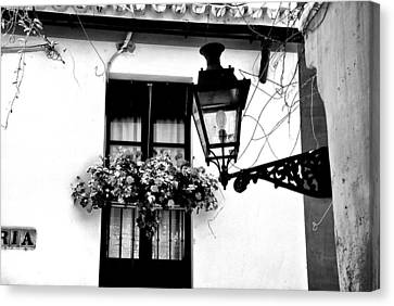 Canvas Print featuring the photograph Corner Light Black And White by Rick Bragan