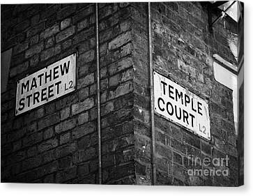 Corner Of Mathew Street And Temple Court In Liverpool City Centre Birthplace Of The Beatles  Canvas Print by Joe Fox