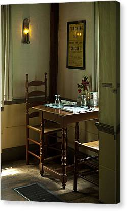 Corner Table Canvas Print by Lee Fortier