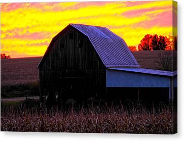 Canvas Print featuring the photograph Cornfield Barn Sky by Randall Branham