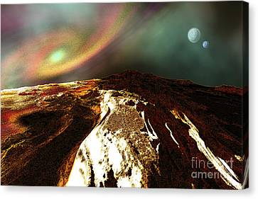 Cosmic Landscape Of An Alien Planet Canvas Print by Corey Ford