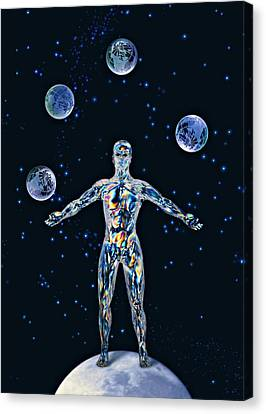 Cosmic Man Juggling Worlds, Artwork Canvas Print by Paul Biddle